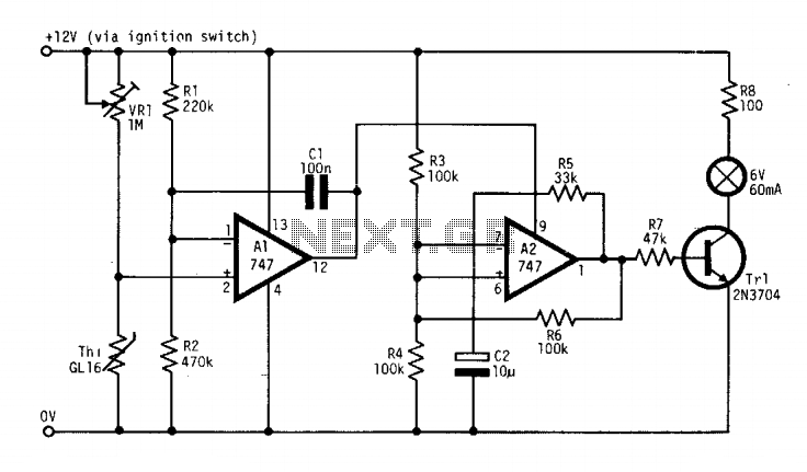 Ice warning alarm 12V - schematic