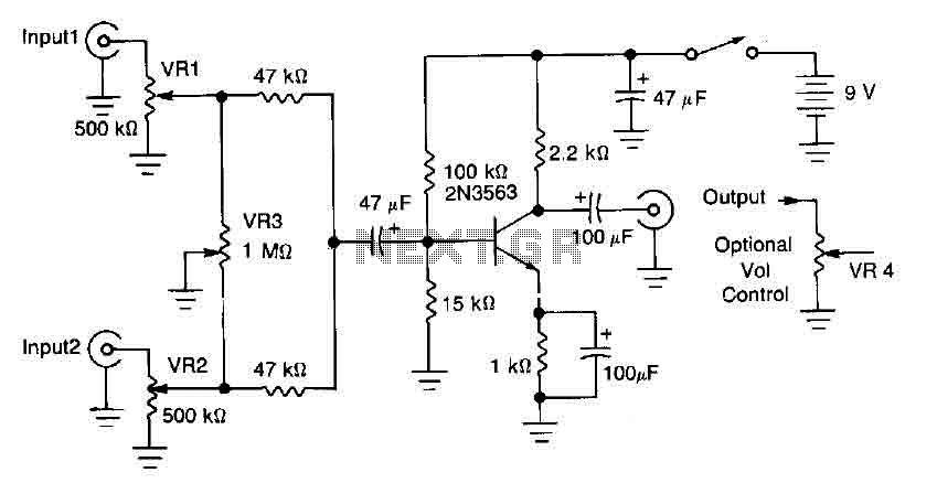 One transistor audio mixer (2N3563) - img1