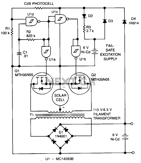 Solar cell battery charger circuit - schematic