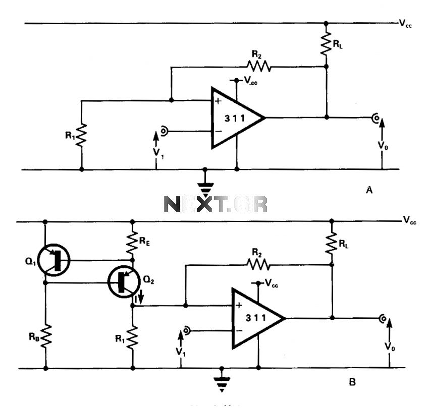 Schmitt trigger comparator - schematic