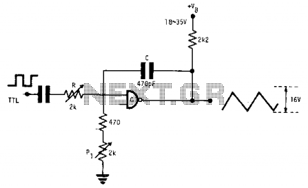 Square wave-to-triangle converter - schematic