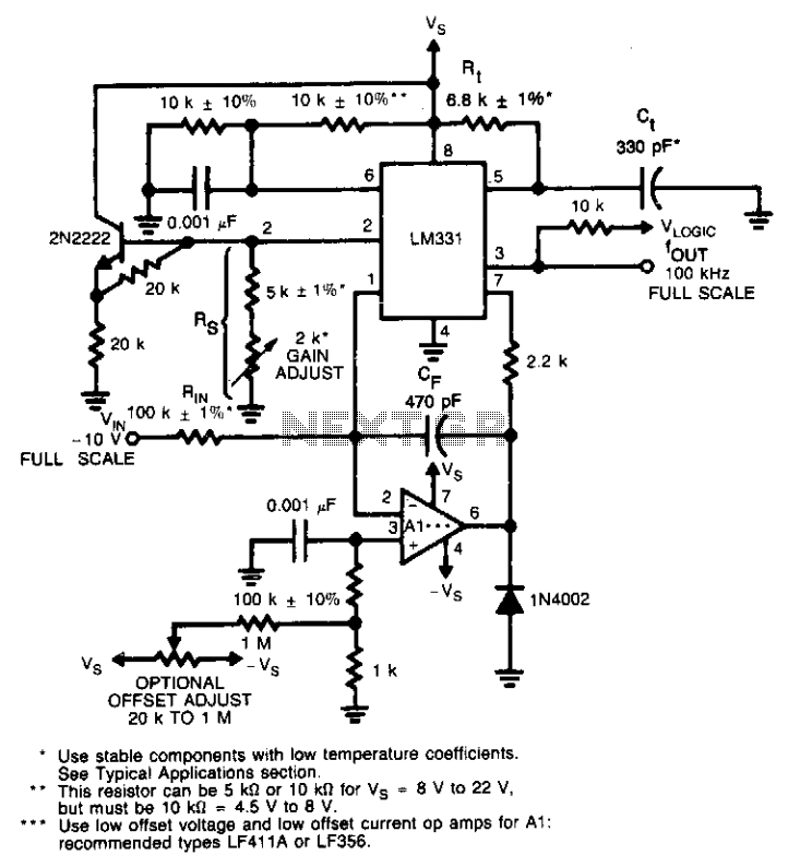 Precision voltage-to-frequency converter - schematic
