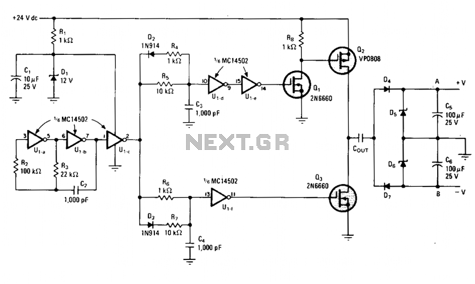 Bipolar dc-dc converter requires no inductor - schematic