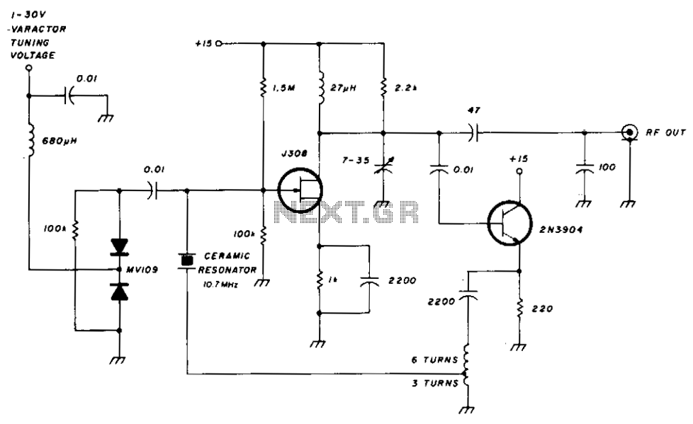 Varactor-tuned 10 mhz ceramic resonator oscillator - schematic