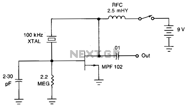 Pierce crystal oscillator - schematic
