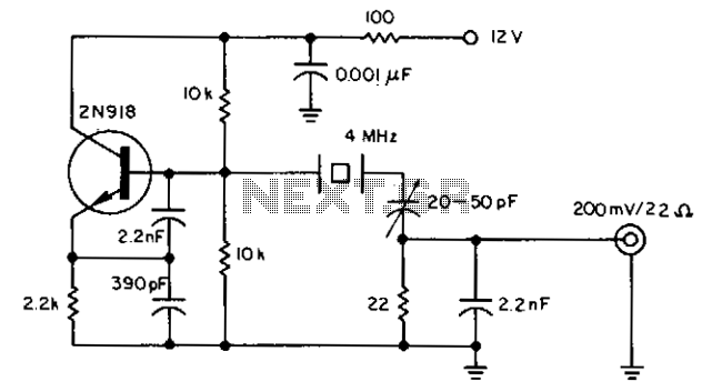 Crystal oscillator provides low noise - schematic
