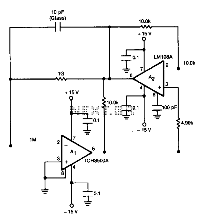 Electrometer amplifier with overload protection - schematic
