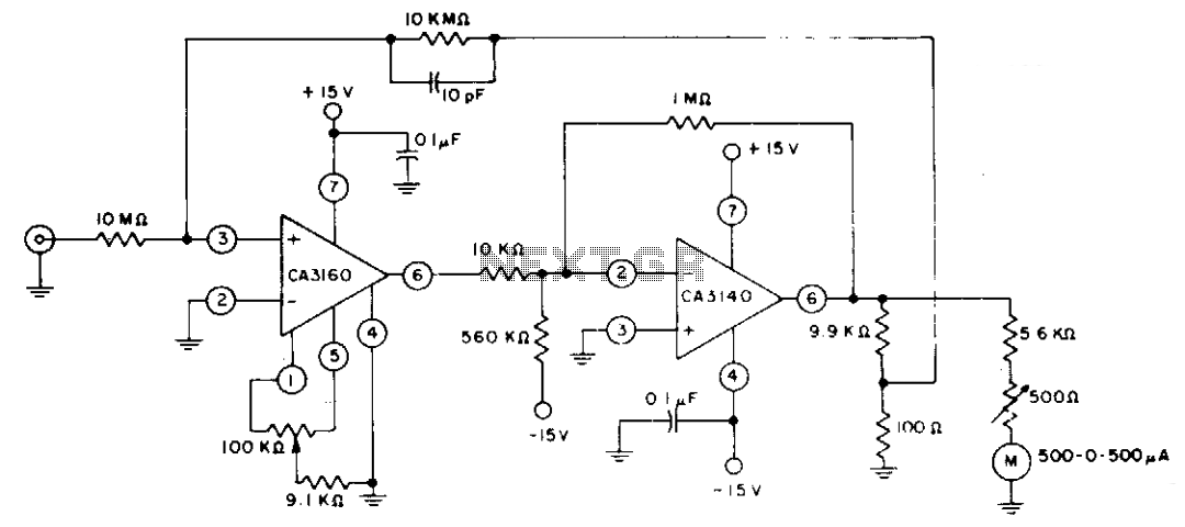 Guarded input picoammeter circuit