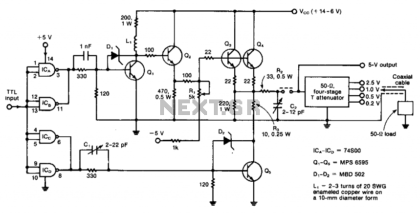 Five-transistor amplifier