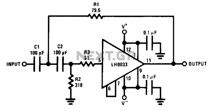 Wideband two-pole high-pass filter - schematic