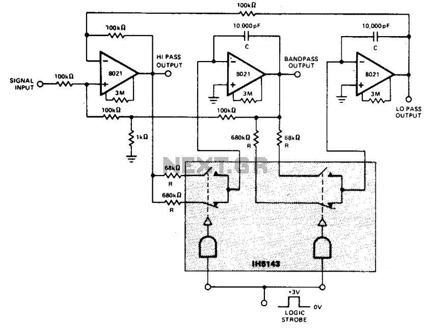 Digitally tuned low power active filter - schematic