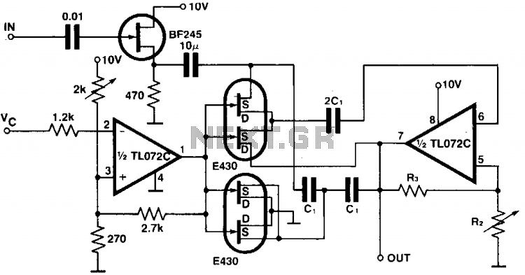 Programmable bandpass using twin-t bridge - schematic