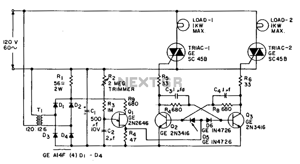 1 Kw flip-flop flasher circuit