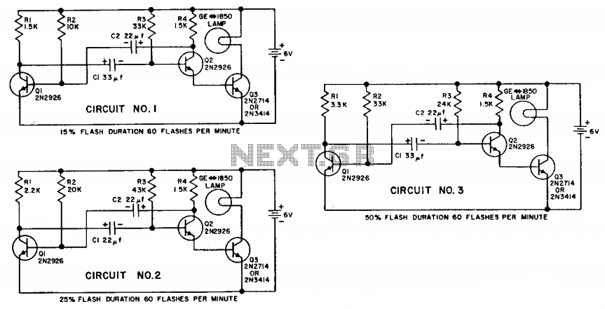 Transistorized flashers - schematic