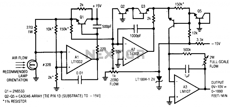 Thermally based anemometer - schematic