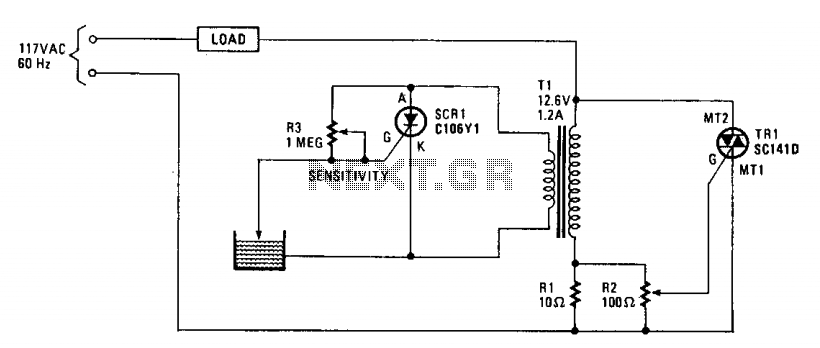 Water-level sensing and control - schematic