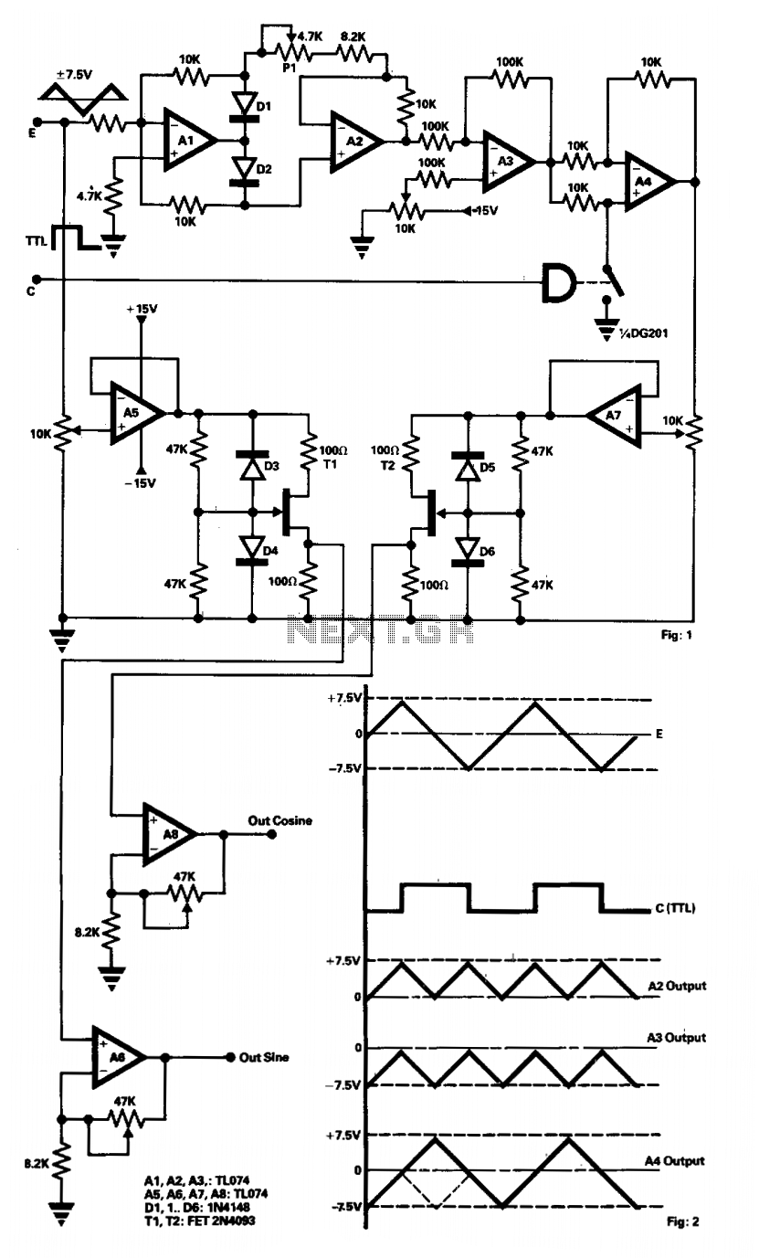Popular Circuits Page 35 Schematic For Assembly Of The Amplifier Simples 7 Watts With Lm383 A Sine Cosine Generator