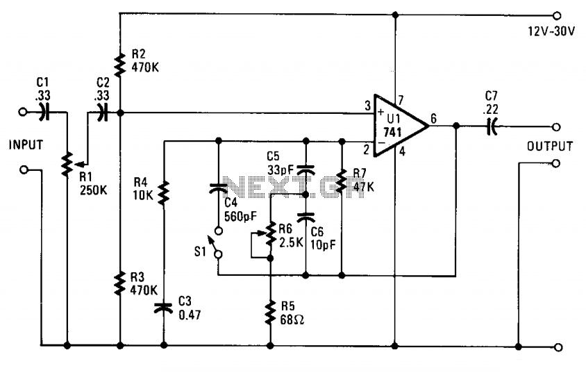 Instrument preamp - schematic