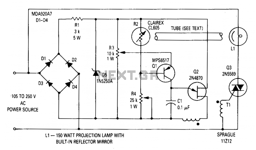 Voltage regulator for projection lamp - schematic