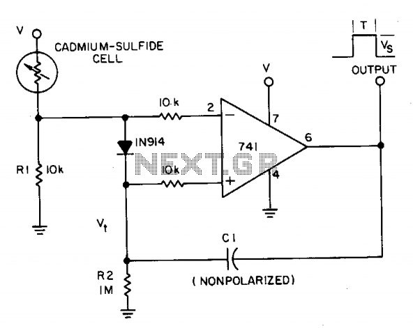 Monostable photocell circuit - schematic