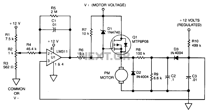 back emf motor speed control under motor control circuits