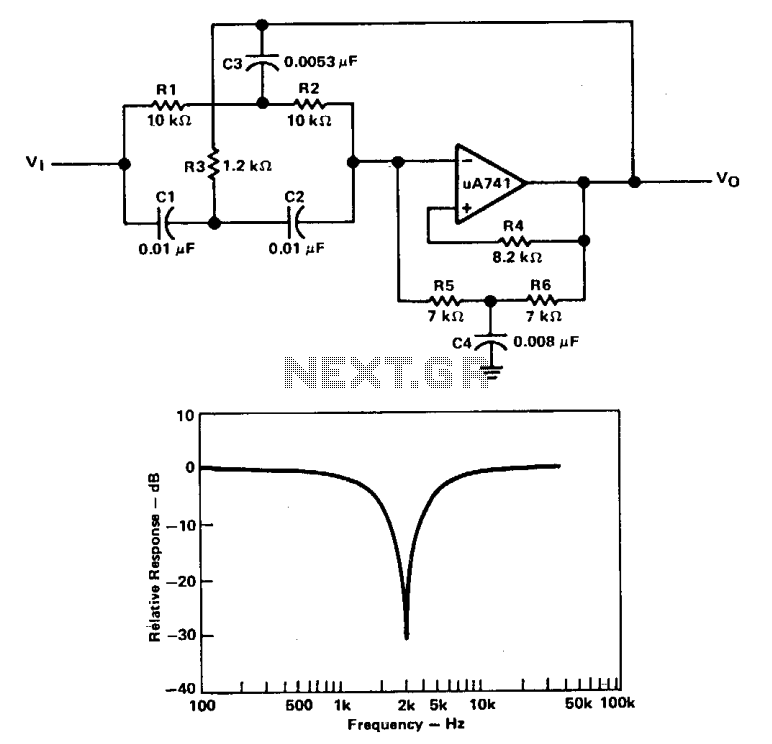 Active band-reject filter  - schematic