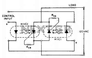 AC relay using two photon couplers - schematic