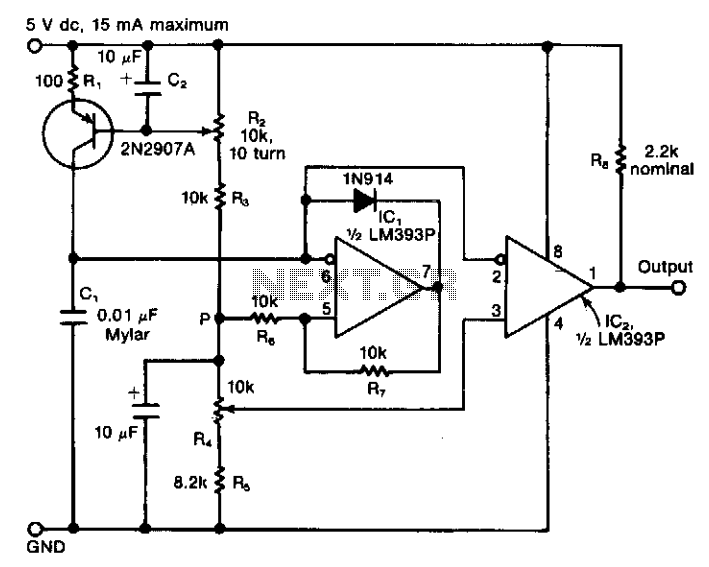 Four-decade variable oscillator  - schematic