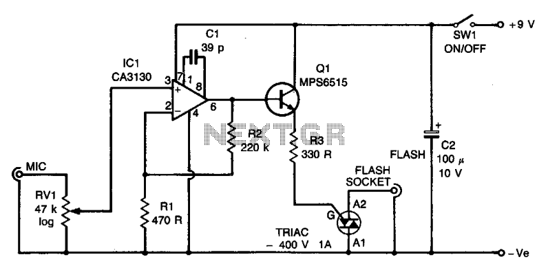 Sound trigger for flash unit  - schematic