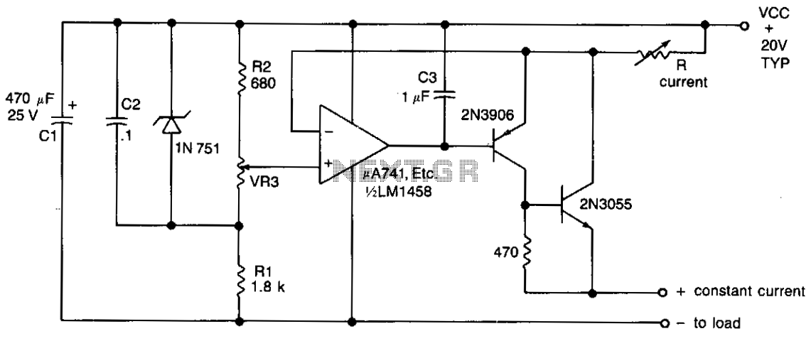 Variable current source 100ma-2amp  - schematic