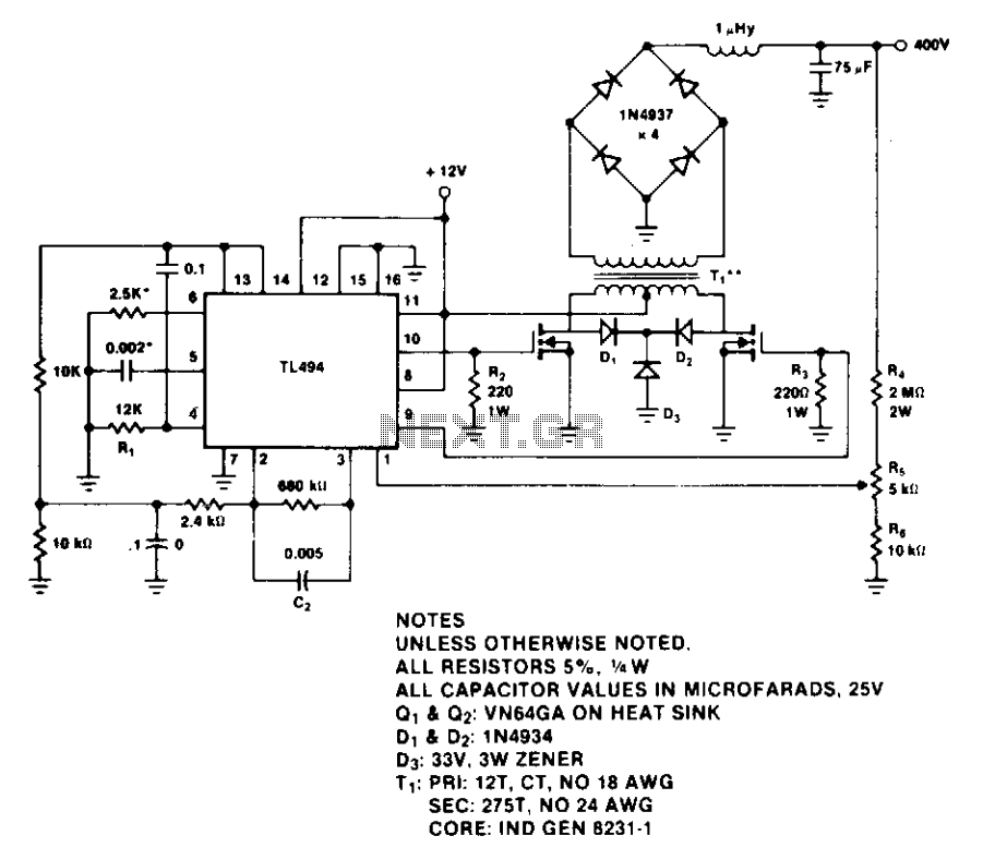 400-Volt 60-watt push-pull power supply  - schematic