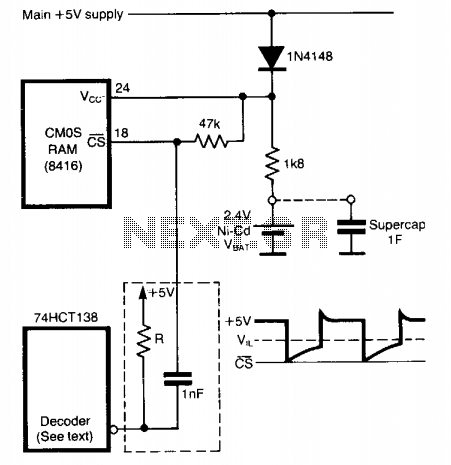 Stand-by power for non-volatile cmos rams  - schematic