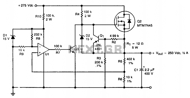 hv regulator with foldback current limiting under high voltage circuits