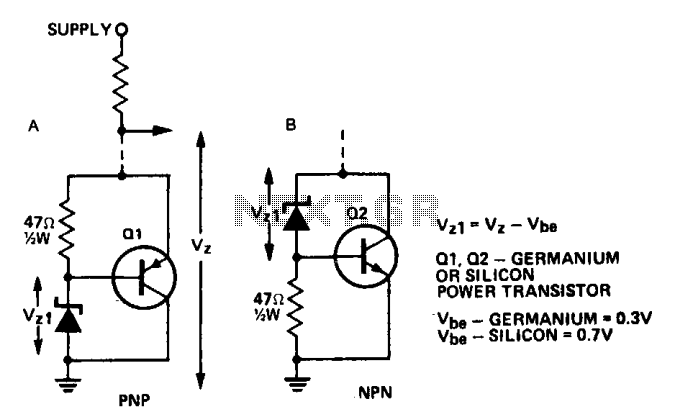 Increasing the power rating of zener diodes  - schematic