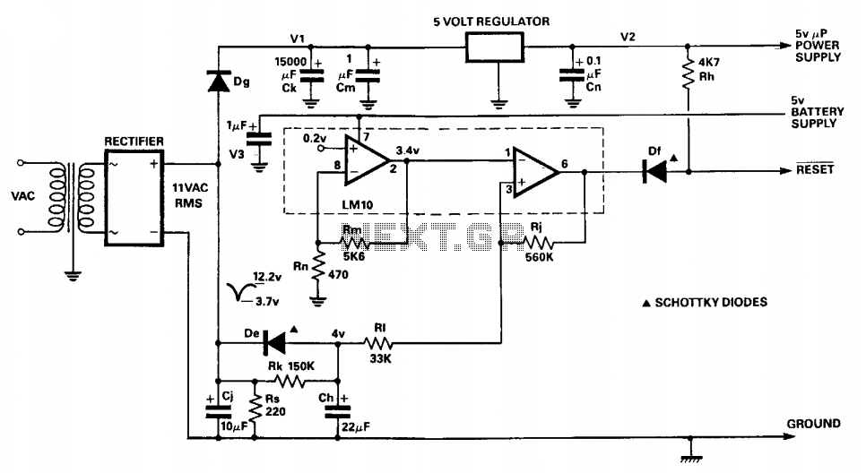 Microprocessor power supply watchdog  - schematic