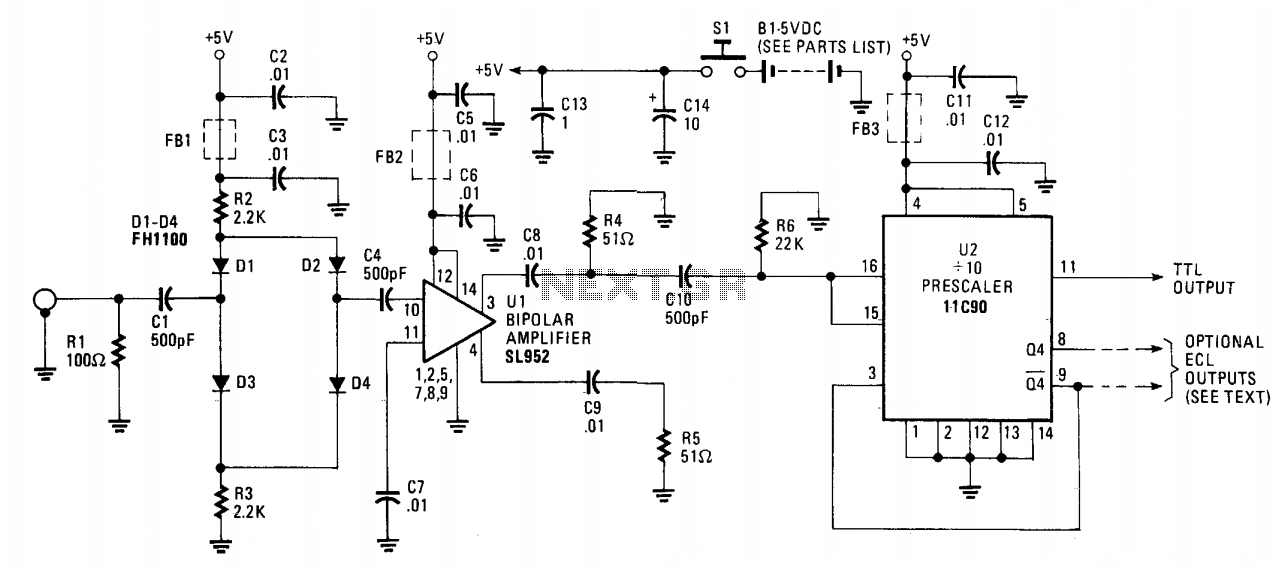650Mhz amplifying prescaler probe  - schematic