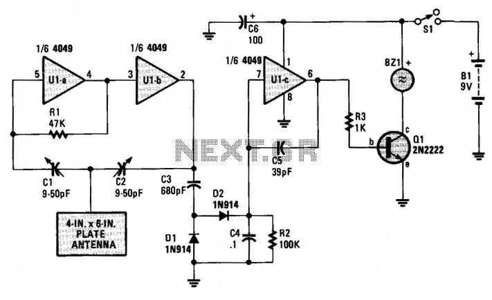 Proximity alarm  - schematic