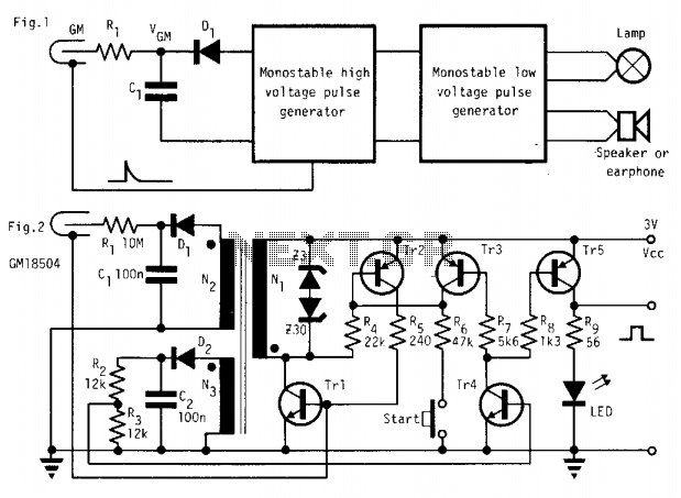 Micropower radioactive radiation detector  - schematic