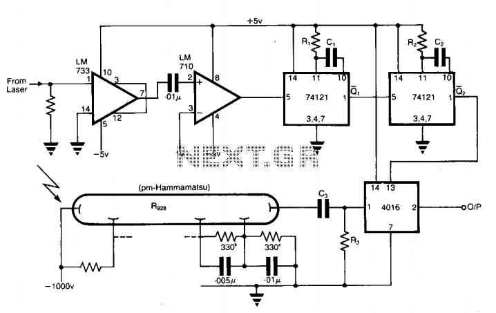 Photomultiplier output-gating circuit  - schematic