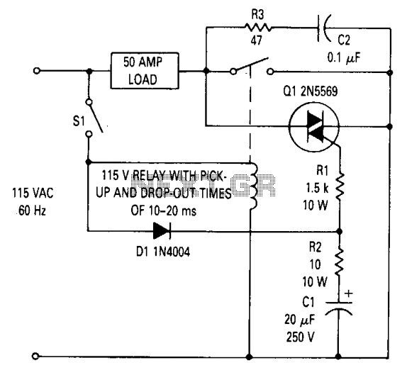 Triac relay-contact protection  - schematic