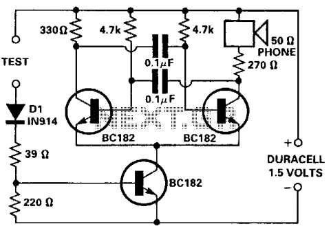 Simple continuity tester for pcbs  - schematic