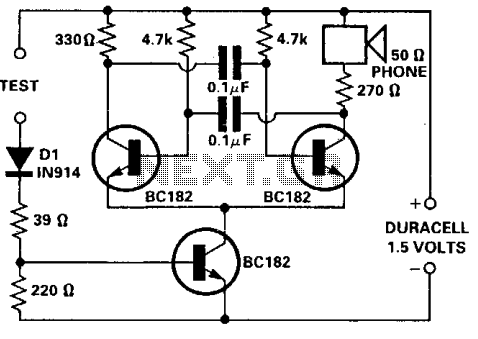 Simple continuity tester - schematic
