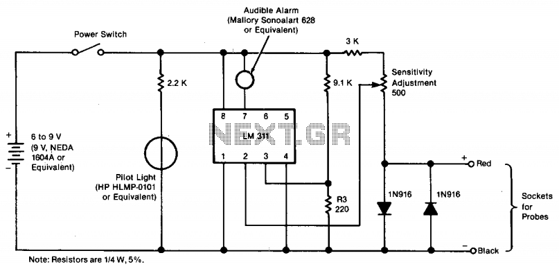 Adjustable audible continuity tester