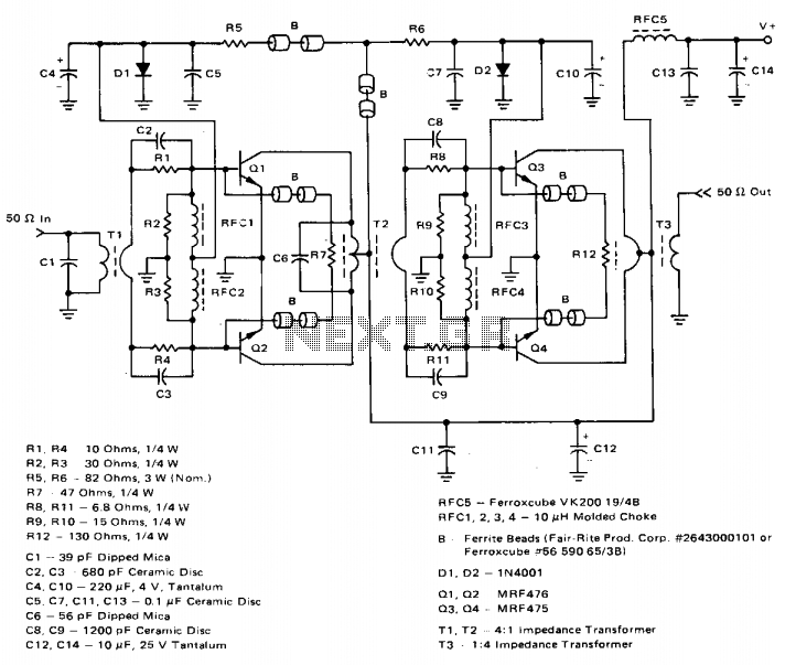 Low-distortion 1.6-30mhz ssb driver  - schematic