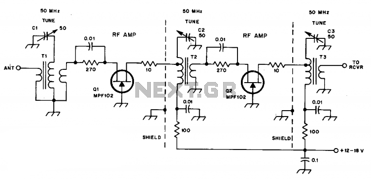 6-Meter preamplifier provides 20db gain  - schematic