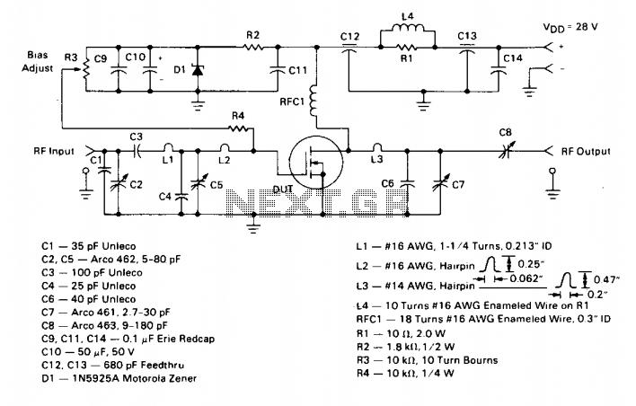 125Watt 150Mhz amplifier  - schematic