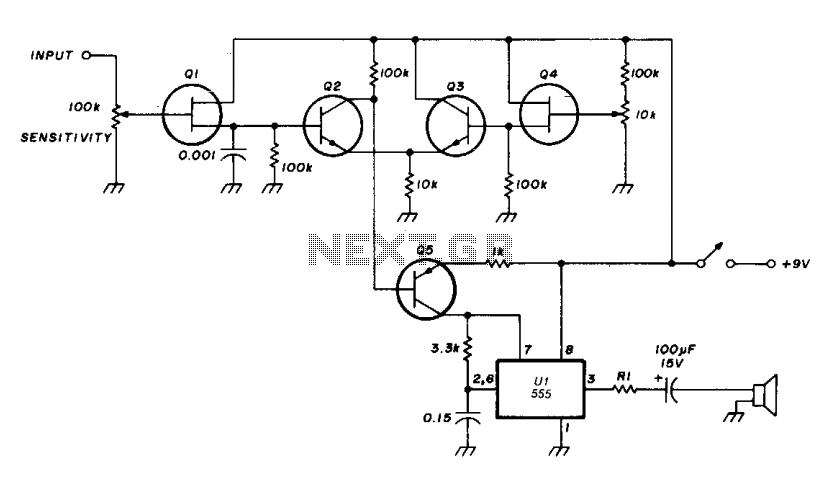 RC audio oscillator with 555  - schematic