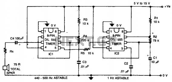 Warble-tone alarm  - schematic