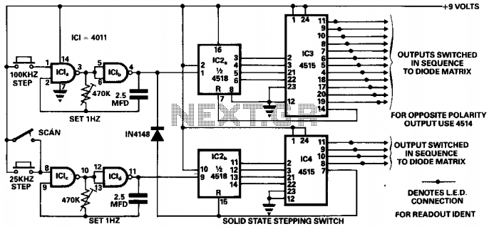 Solid state stepping switch  - schematic
