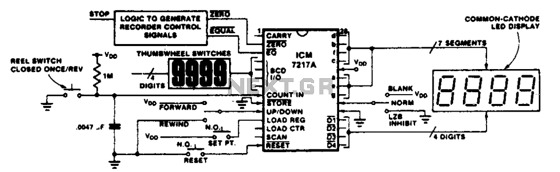 Tape recorder position indicator-controller  - schematic